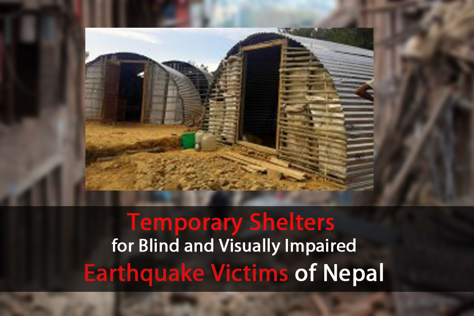 Banner Showing Earthquake Disaster and Temporary Shelters